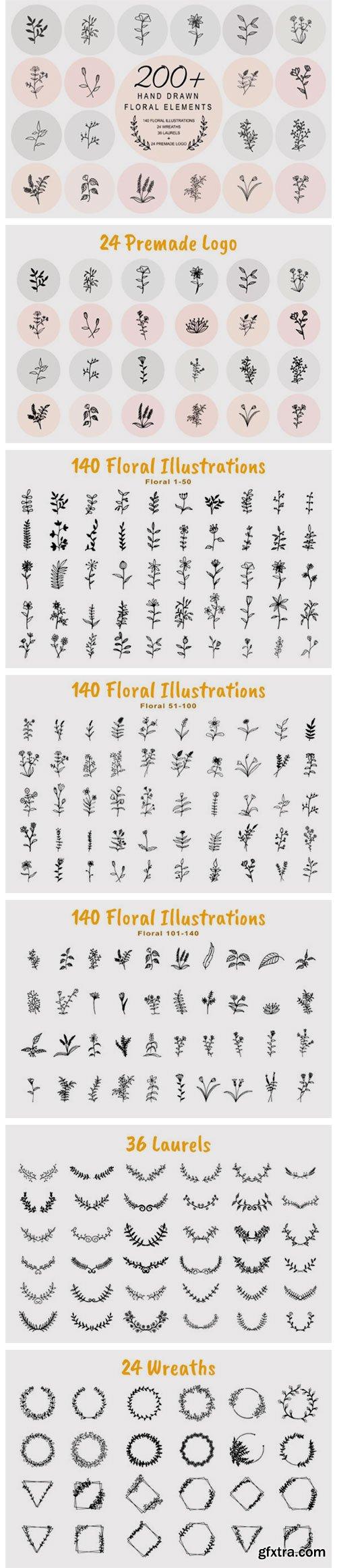 200 Hand Drawn Floral Elements Bundle 5782102