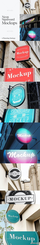 GraphicRiver - 6 Neon Signboard Mockups 28700015