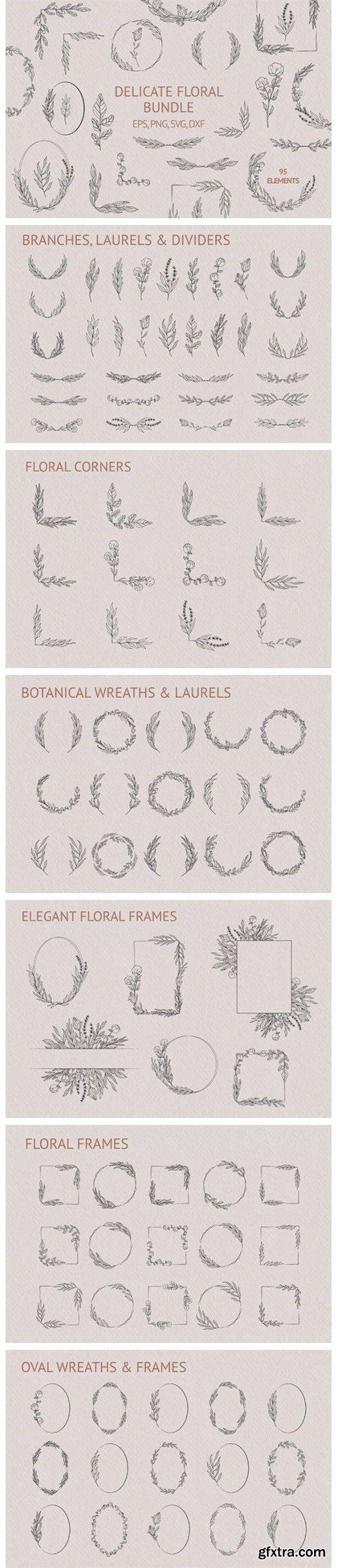 Hand Drawn Delicate Floral Bundle 5917870