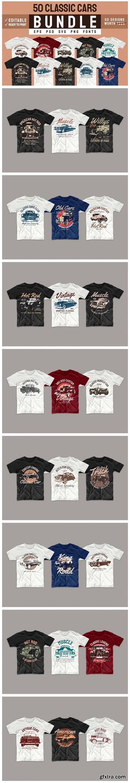 Vintage Car T-shirt Design Bundle Vector 5918002