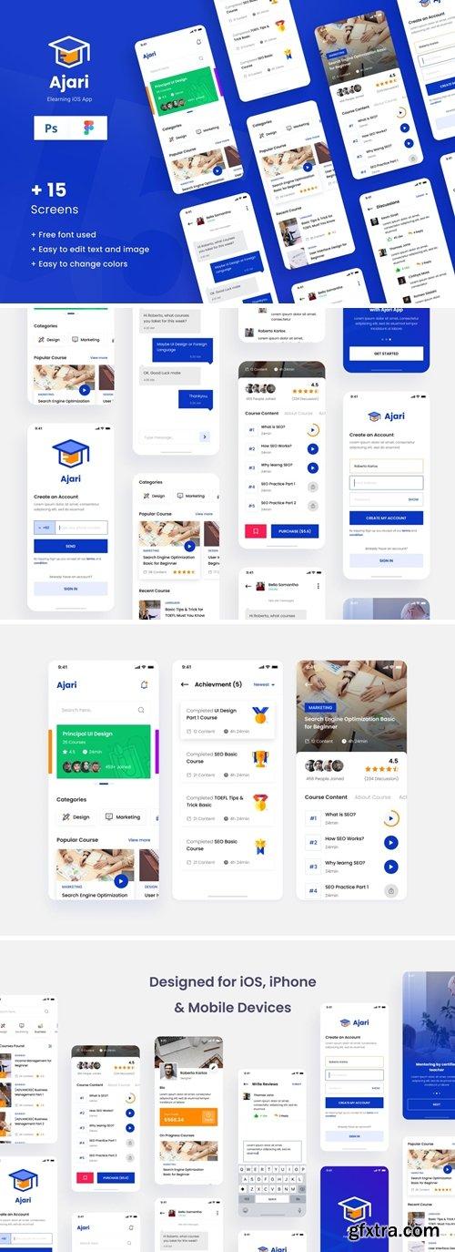 E-learning iOS App Design UI Figma PSD Template