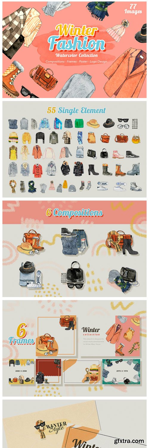 Winter Fashion Watercolor Set 6064097