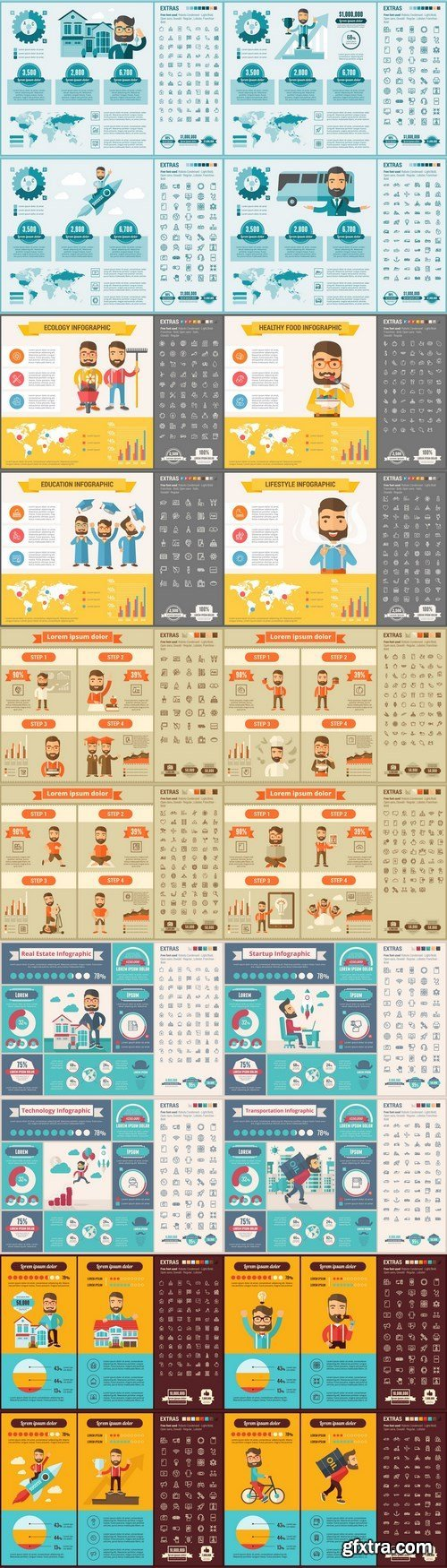 Flat Design Infographic 2 Template - 20xEPS