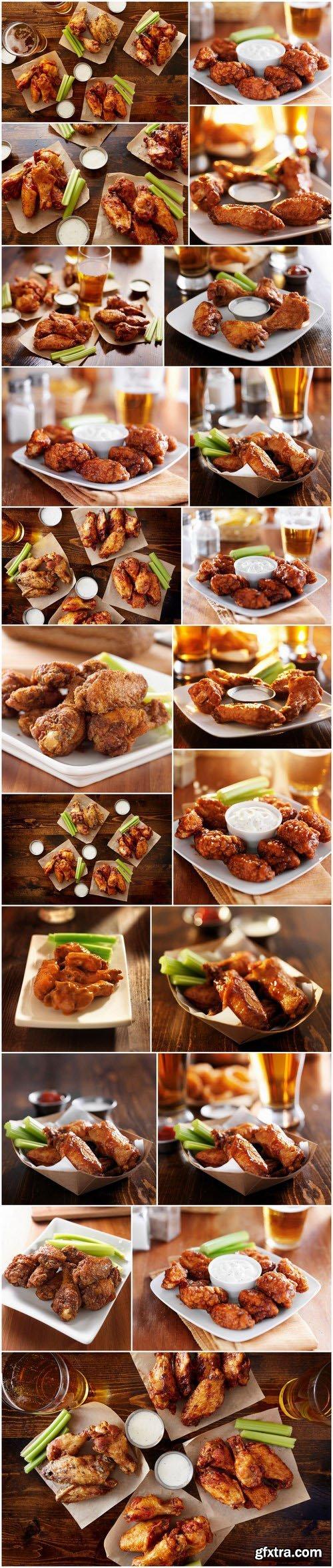 Buffalo barbecue hot chicken wings around ranch sauce - 21xUHQ JPEG