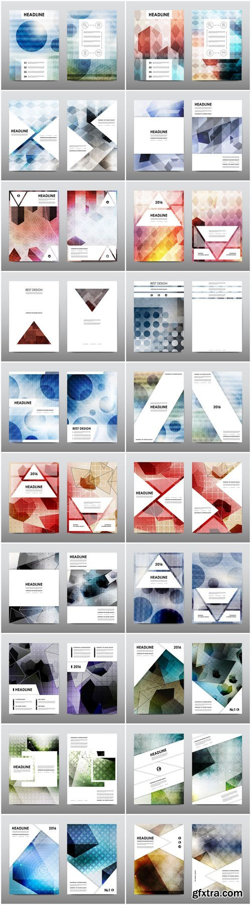 Magazine booklet cover, brochure layout template & abstract flyer design 6 - 20xEPS Vector Stock