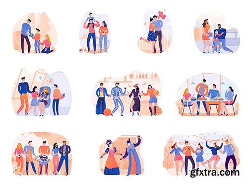 Set of season holidays party isolated illustration