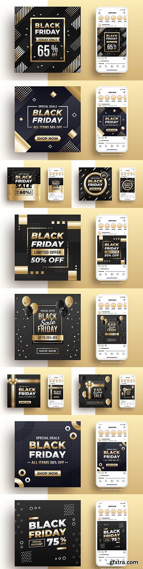 Black Friday selling banner on social media design gold