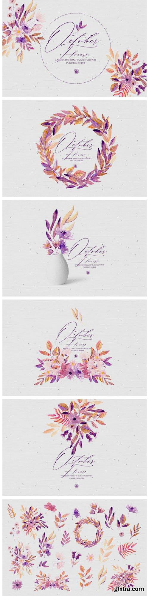 Watercolor Set - October Flowers 6040327