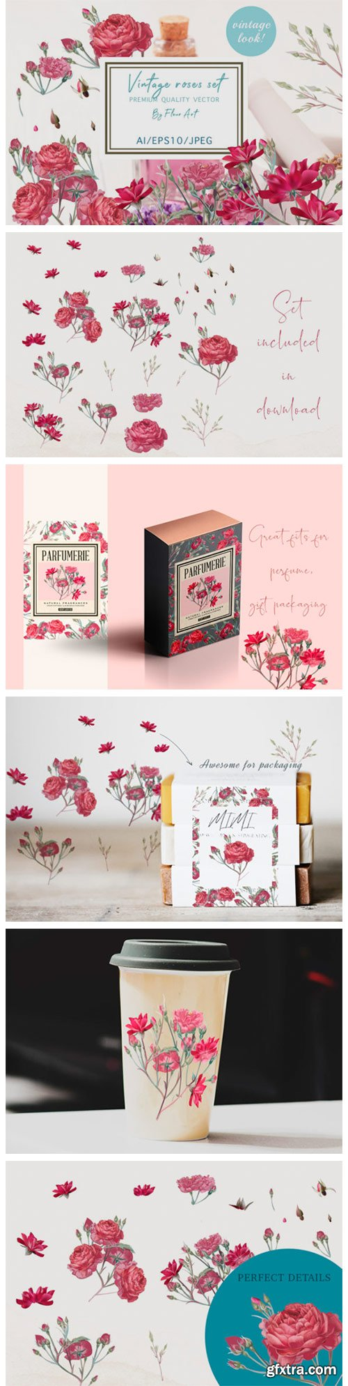 Pretty Rose Vector Clipart Set 6137398