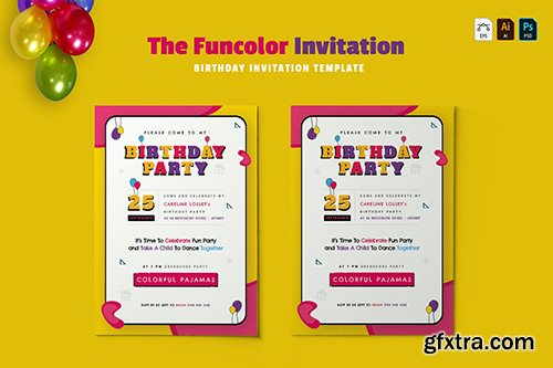 Funcolor   Birthday Invitation