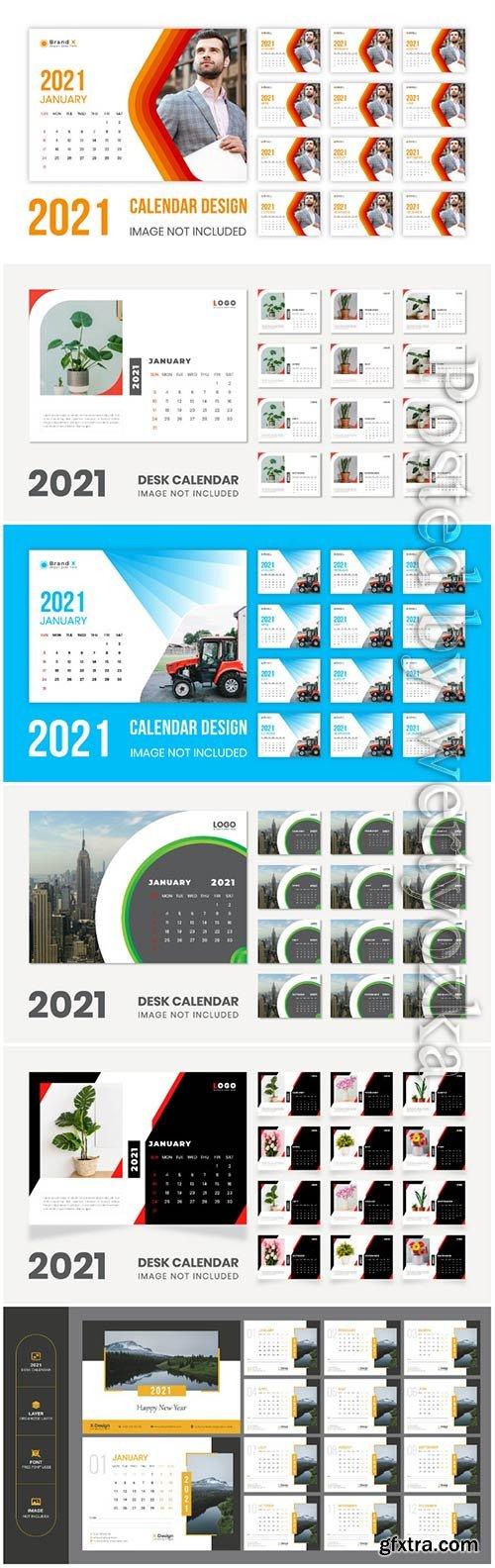 Desk calendar new year 2021