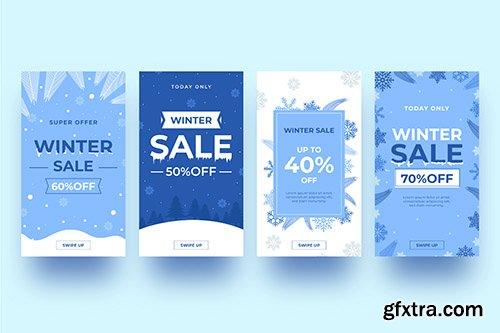 Winter sale instagram story set