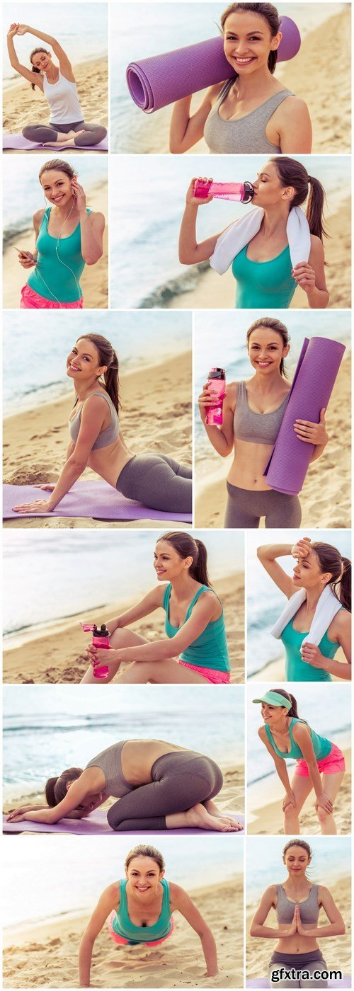 Girl doing yoga on the beach - 12xHQ JPEG