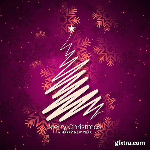 Merry christmas background with line art tree design