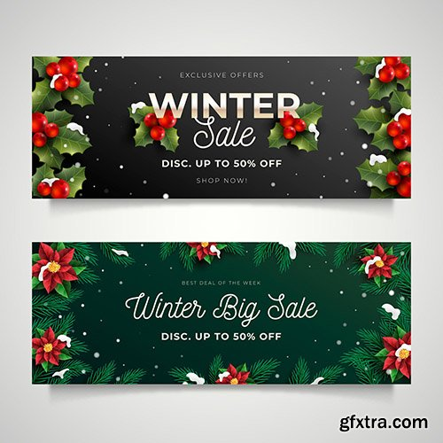 Realistic winter sale banners collection