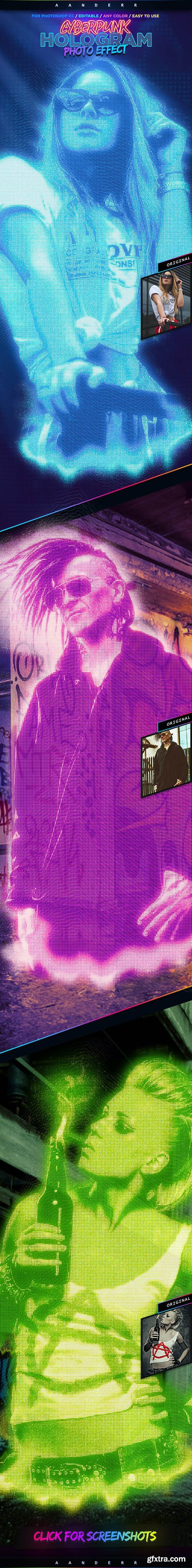 GraphicRiver - Cyberpunk Hologram Photo Effect 28403433