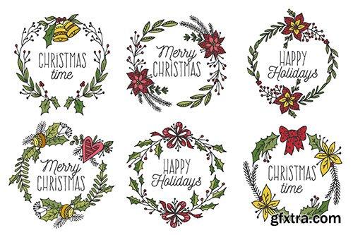 Hand-Drawn Christmas Badge Collection