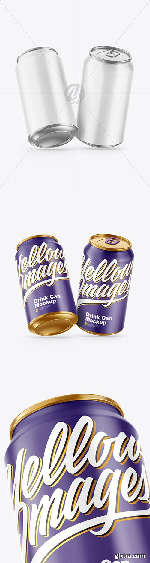 Two Metallic Drink Cans w/ Glossy Finish Mockup 68403