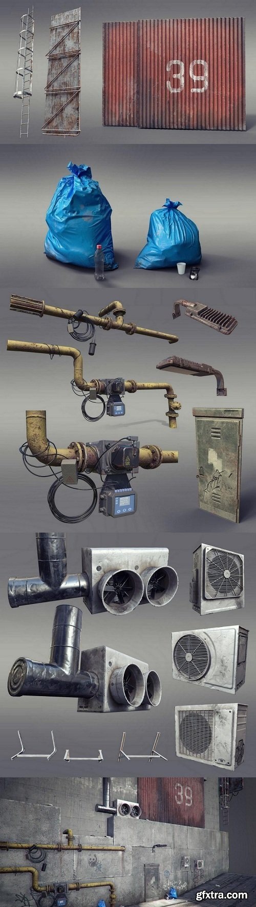 Various Foreground Game Props 3D Model