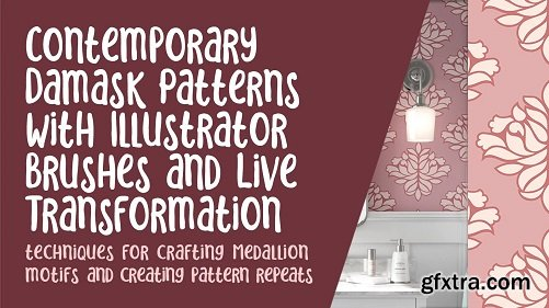 Contemporary Damask w Illustrator Brushes & Live Transformation - Craft Medallions & Repeat Patterns
