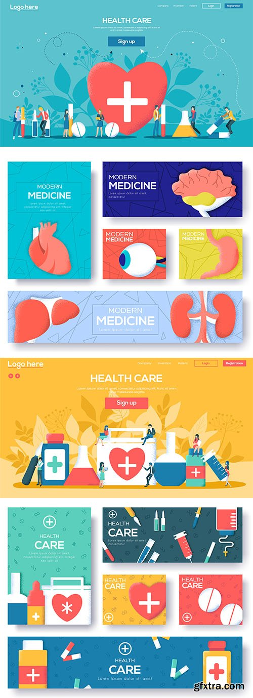 People character with items around health