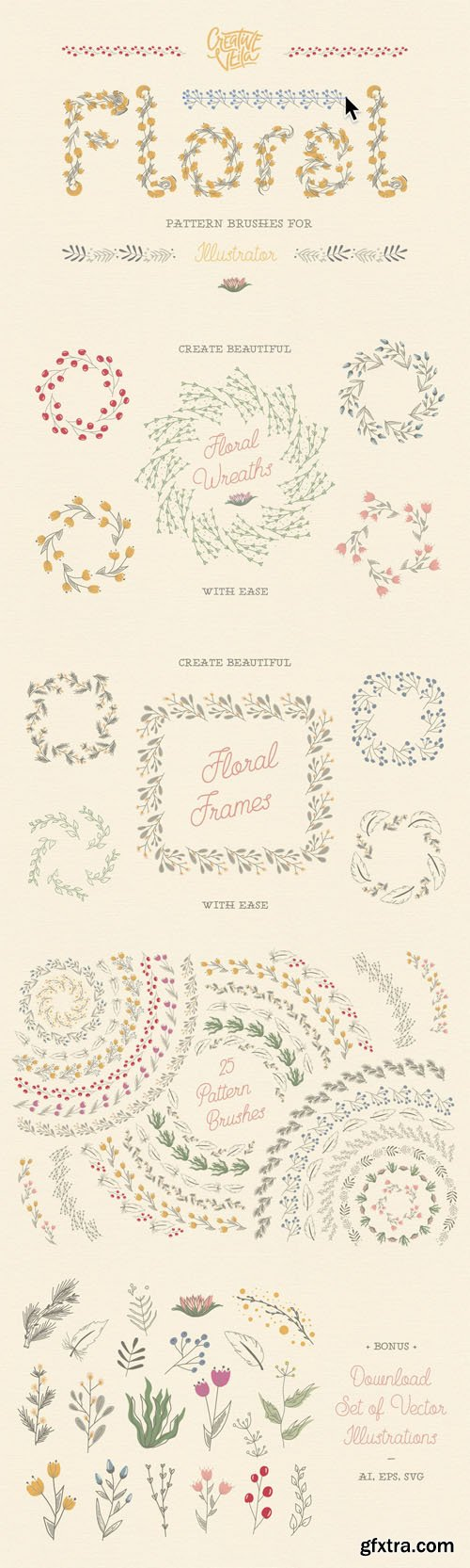 Floral Pattern Vector Brushes