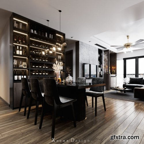 Kitchen – Livingroom Scene 02 By Long