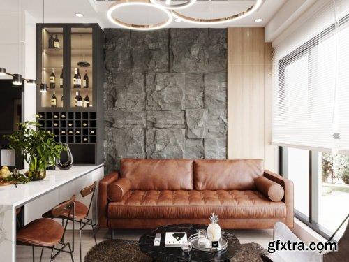 Kitchen – Livingroom Scene By Huong Nguyen