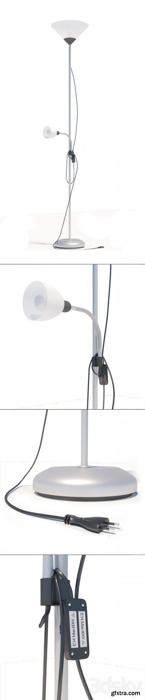 Leroy Merlin Basic floor lamp with reading lamp