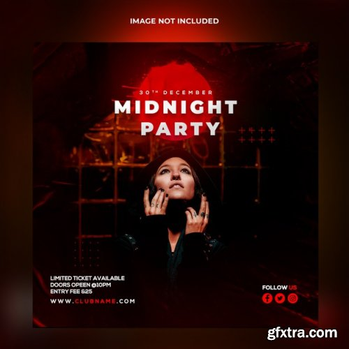 Midnight party banner template