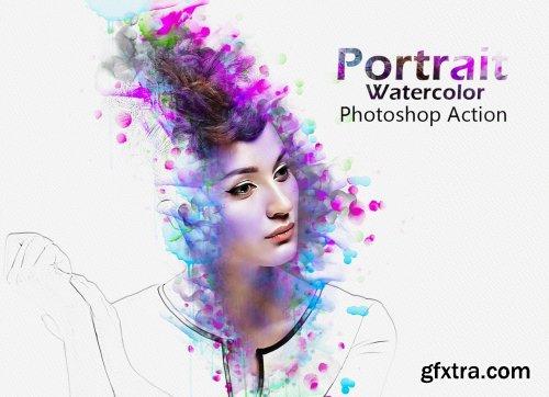 CreativeMarket - Portrait Watercolor Photoshop Action 5204400