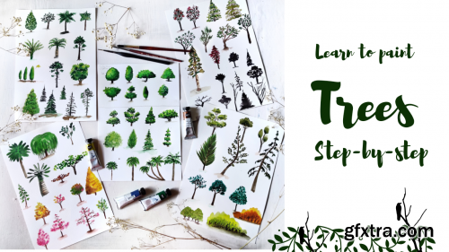 Painting Trees with Watercolor | Learn to paint 50+ types of trees | Draw trees in easy steps