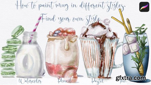 How to paint illustration in 4 styles in Procreate: watercolor, pencil, pastel, ink. Find your style