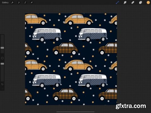 Pattern Brushes 101: Vintage Cars with Bonus Repeat Pattern Lesson in Procreate 5X