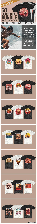 Surfing Paradise T-shirt Designs Bundle 6444500