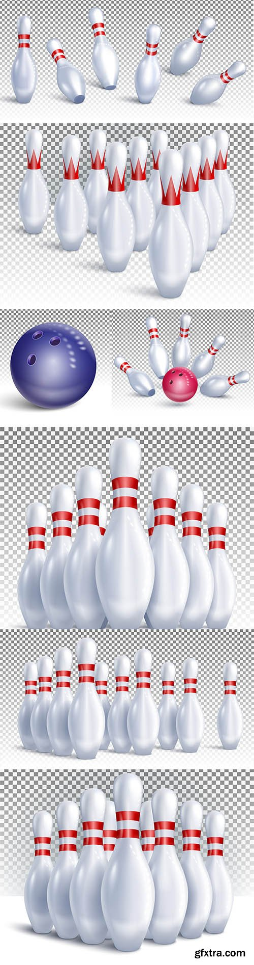 Bowling pins arranged for game and tournament front view