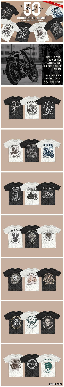 Vintage Motorcycle T-shirt Design Bundle 6445962