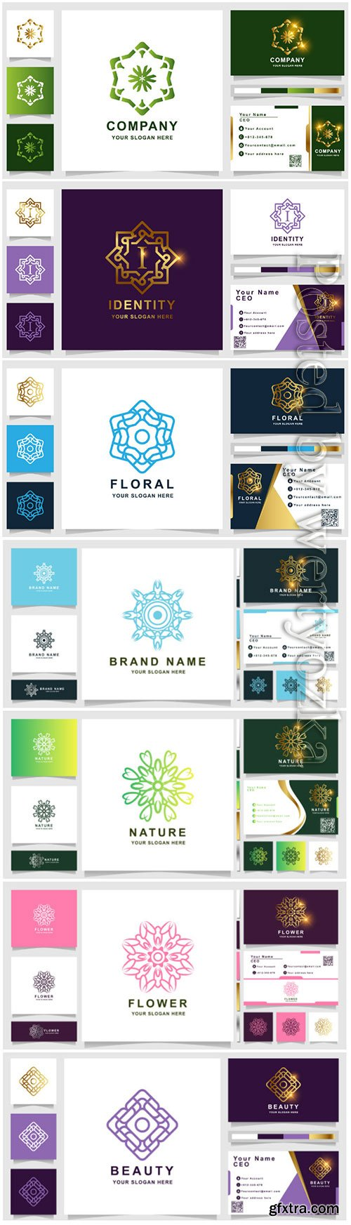 Ornament logo template with business card vector design