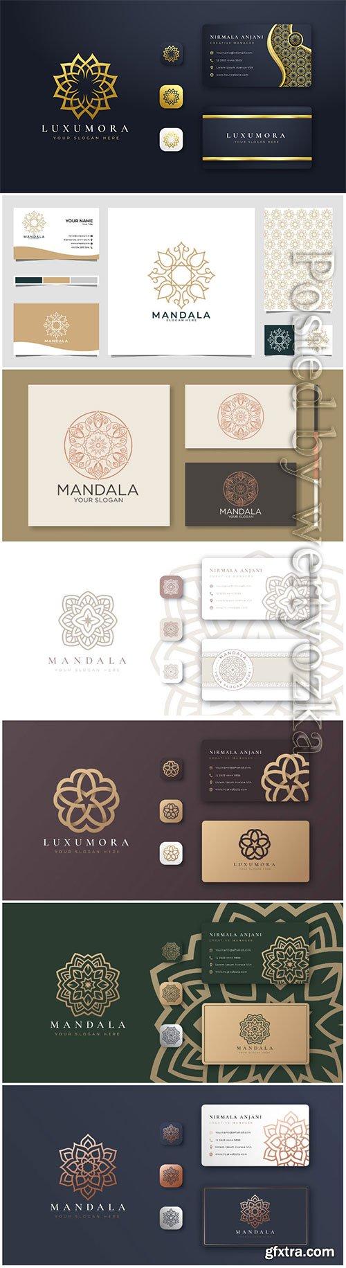 Golden mandala logo with business card premium vector