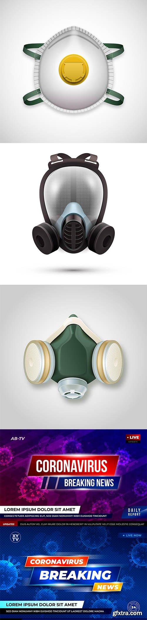 Gas mask respirator concept and coronavirus breaking news background