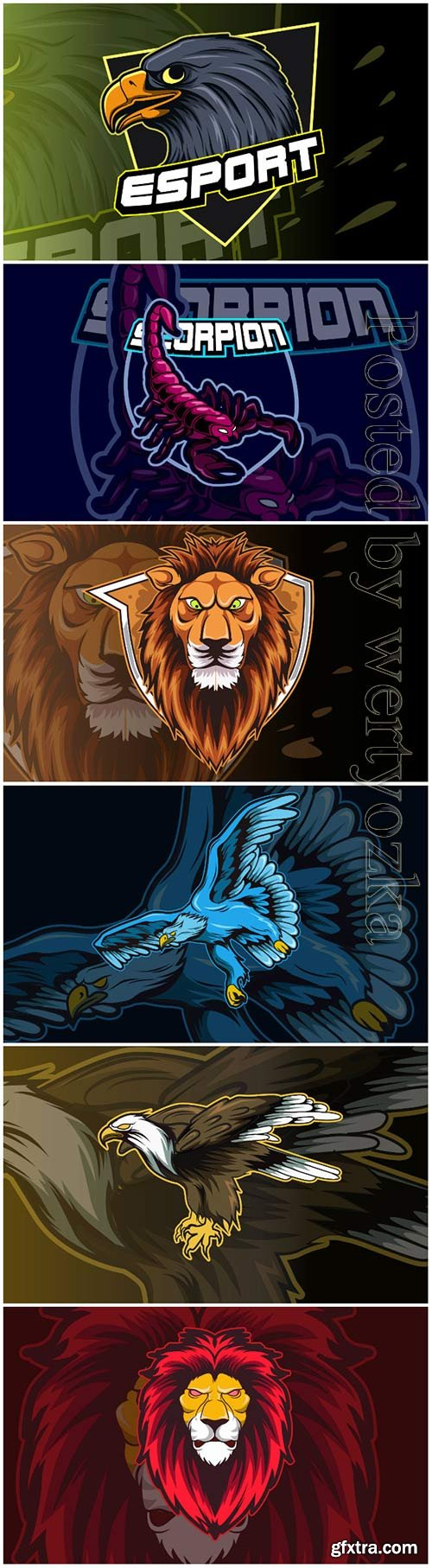 Mascot for sports and esports logo isolated premium vector vol 8