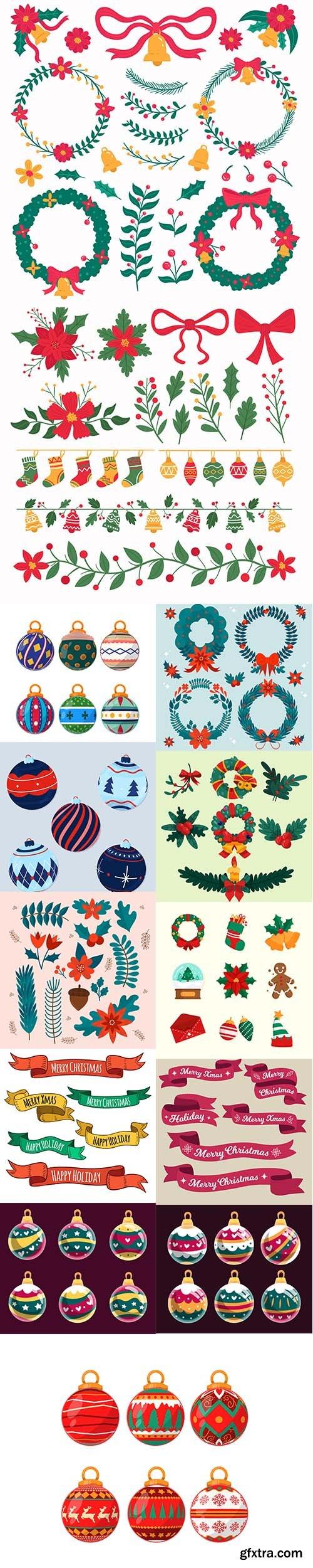 Hand-drawn christmas decoration set