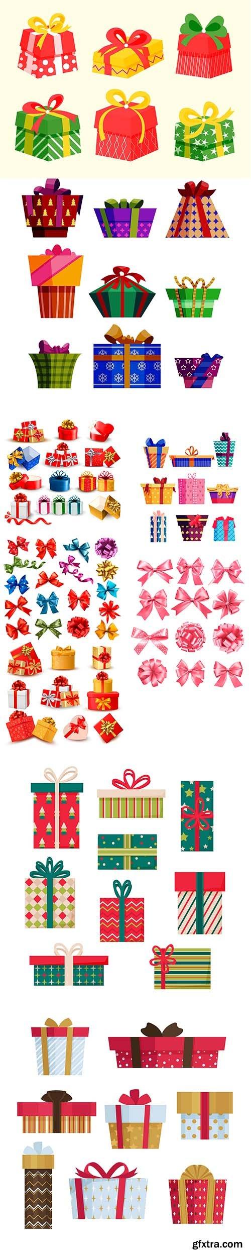 Flat design christmas gift set