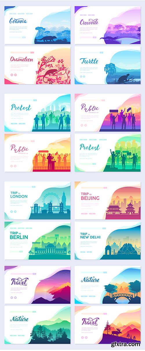 Colorful cards with wildlife in nature