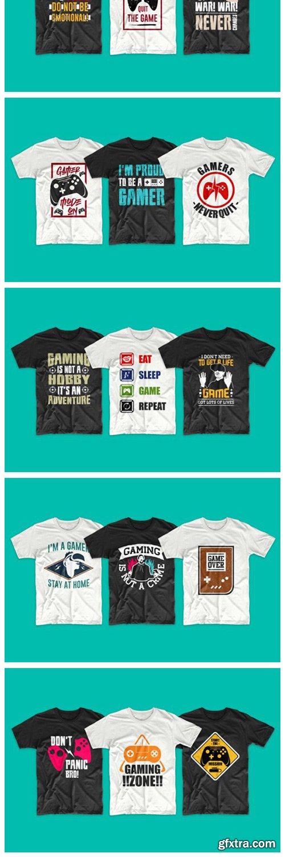 Gaming and Gamer T-shirt Designs Bundle 6482219
