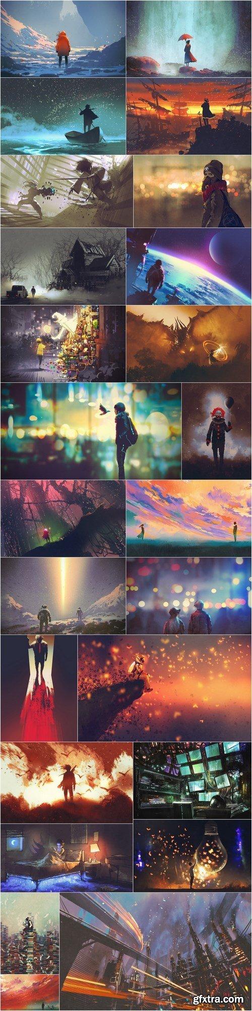 Fantastic illustrations, art, artwork, acrylic - 25xHQ JPEG