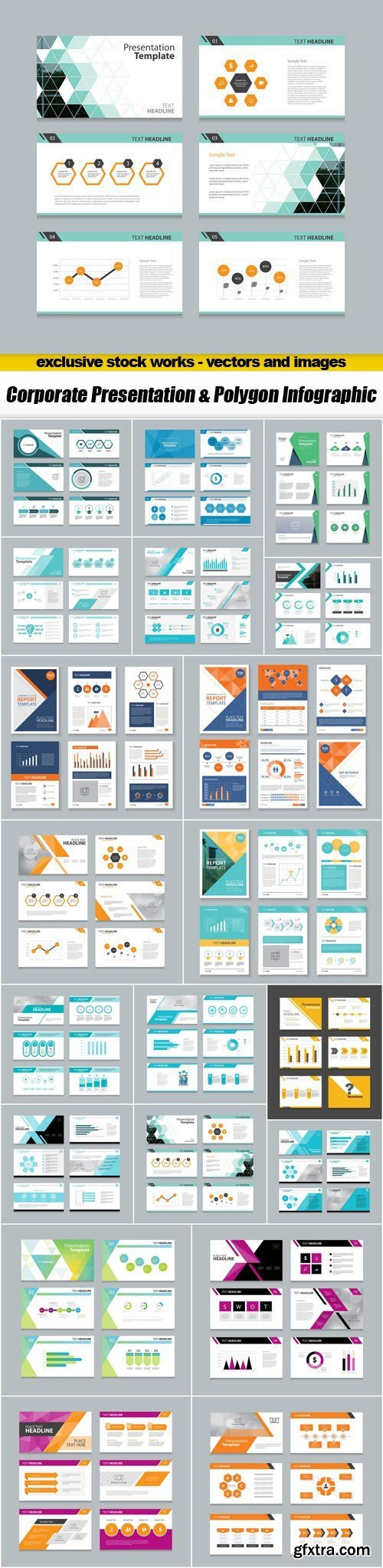 Сorporate Presentation & Polygon Infographic - 20xEPS