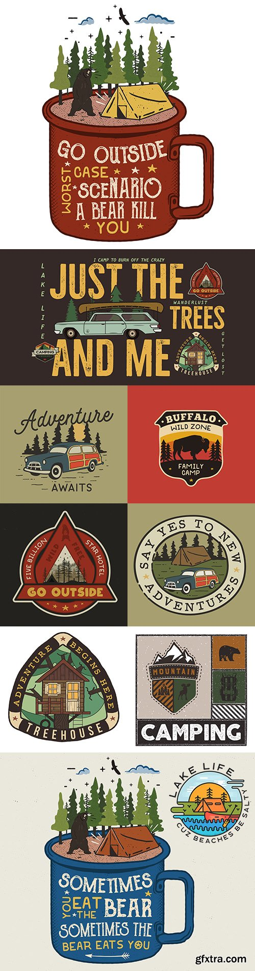 Camping badge design and adventure logo with quote