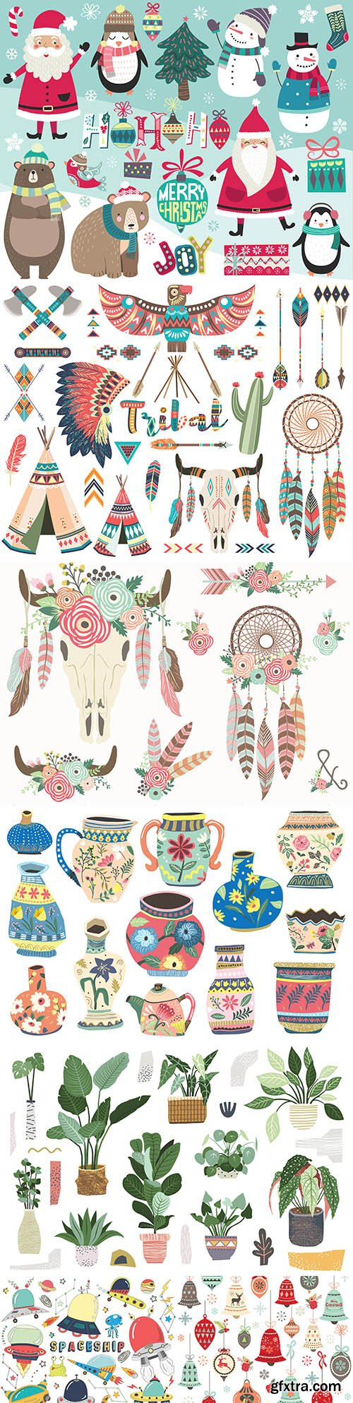 Decorative collection of hand-drawn illustrations on different topics