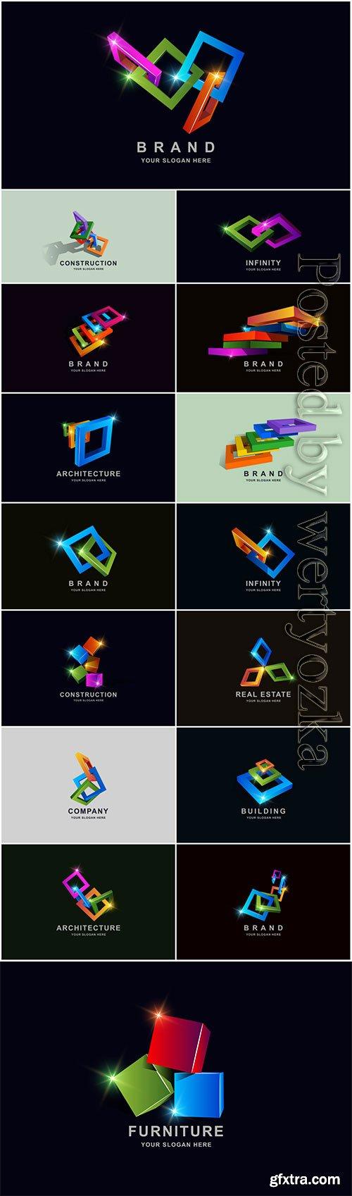 Construction buildings or 3d box square logo design premium vector